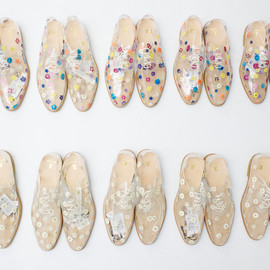 Clear floral print shoes