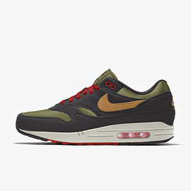 NIKE, Nike By You - Air Max 1 By You - Thermal Green/Black/Honeycomb/University Red/Sail