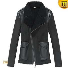 CWMALLS - Cropped Shearling Jacket Black CW640102