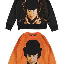 "MEDICOM TOY - KNIT GANG COUNCIL ""A CLOCKWORK ORANGE"" CREW NECK SWEATER ""ALEX"" BLACK/ORANGE"