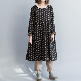 Women's Dresses Winter, loose large size dress, cotton high collar dress, plus velvet dres