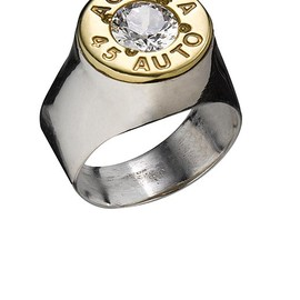 BULLLET GIRL - .45 AUTO 24K gold plated with CZ cap pinky ring