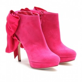 Alexander McQueen - PLATFORM BOOTIES WITH BOW RIBBONS Pink