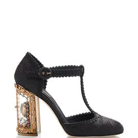 DOLCE&GABBANA - SS2015 Black Jacquard T-Strap Mary Jane With Window Pane Pump
