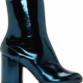 Maison Martin Margiela - FW2014 Navy Metallic Leather Ankle Boots