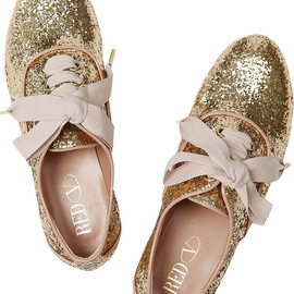 RED VALENTINO - Glitter-finish lace-ups