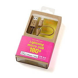 cheero - [ 改善版 ] DANBOARD 2in1 USB Cable with Micro USB & Lightning connector (180cm)