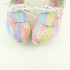 Vintage 1980s Colorful Pastel Rainbow Canvas Deck Shoes 8 - Tender Tootsies Unworn
