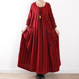 dress - Loose Fitting Maxi Dress womens, round collar long dress, Red maxi dress
