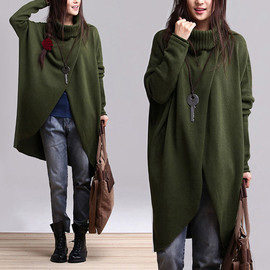 etsy - Green colored cotton sweater irregular personality