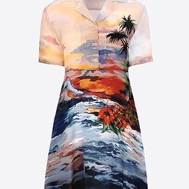 VALENTINO - Hawaiian Couture Short dress in crepe de chine