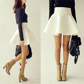 Fashion Solid Color High Waist Skirt