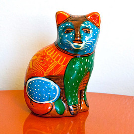 Painted Cat Figurine