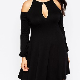 ASOS - Image 3 of ASOS CURVE Skater Dress With Cold Shoulder & Key Hole Detail
