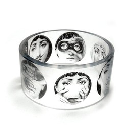 Fornasetti II -  Black and White chunky resin bangle