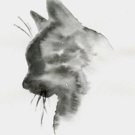 Whiskered Paintings - Black Cat