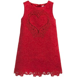 Dolce & Gabbana - Red Brocade Dress with Embroidered Heart