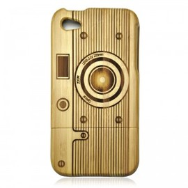 Hallomall - Bamboo Iphone4/4s Case- Hand Carved Camera