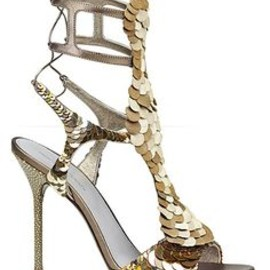 Sergio Rossi - Gold Sequined Sandals 2013