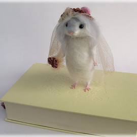 Hamster Miss Havisham Bride Needle Felted Art Doll MADE TO ORDER
