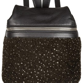 Kara - Small textured-leather and shearling backpack