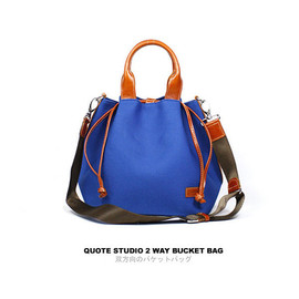 Quote Studio - QUOTE Bucket bag Leather n Canvas -- Blue
