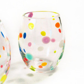 Avolie Glass - Retro Tumblers Hand Blown Glass Colorful Polka Dots