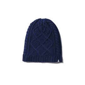 SOPHNET. - CABLE KNIT CAP navy