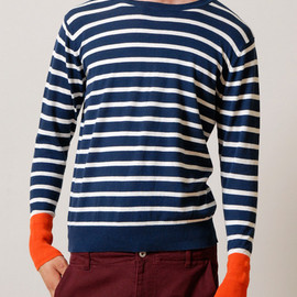 graniph - Border Long Sleeve Knitted Crew Neck(Navy)