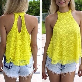 Fashion Halter-style Hollow Out Lace Tops