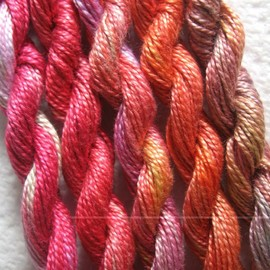 Luulla - Peach, Mango, Rose, Perle 8, 5 pack, Yarn, Mixed Media, Textile Art, Fiber Art, Serendipity