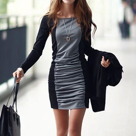 Contrast Color Hip Hugging Bodycon Long Sleeve Mini Dress
