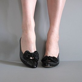 vintage SILK BOW party heels 6