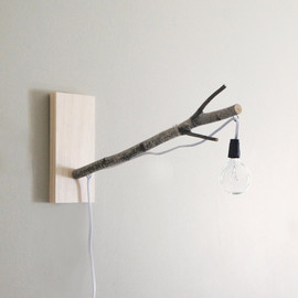 exposed bulb woodland wall/desk lamp