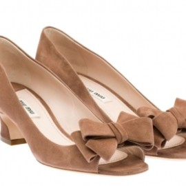 miu miu - Suede open-toe pump in DARK ROSE