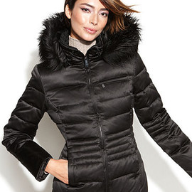 DKNY - Petite Coat, Hooded Faux-Fur-Trim Quilted Puffer