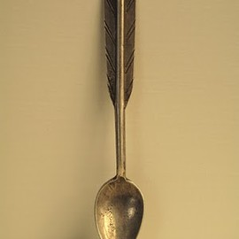 Navajo spoon - the bowl-ingot silver with arrow feather design c 1930's.