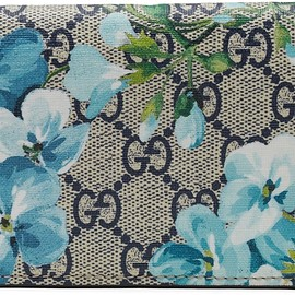 GUCCI - GG Supreme Blooms GG Print Card Case Wallet Blue