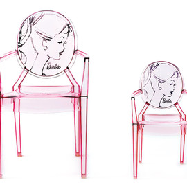 """Kartell + Barbie - limited edition Barbie Louis Ghost chair and """"baby daughter"""" Lou Lou Ghost"""