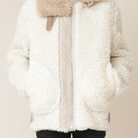 ACNE - Velocite Reversed Shearling Jacket (Bisque White)