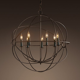 RESTORATION HARDWARE - Foucault's Iron Orb Chandelier Rustic Iron Medium