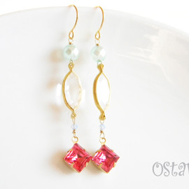 Ostara - Pale Glass Dangle Earrings