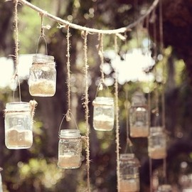 Mason jar - hanging mason jar candles from all the trees by lynda
