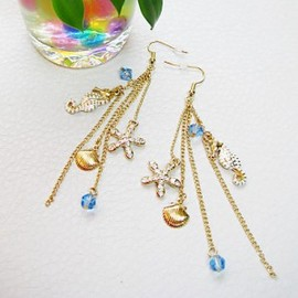 julyjoy - Seahorse & Starfish Tassels Earrings