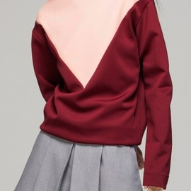 FrontRowShop - High Neck Sweatshirt in Colour Block