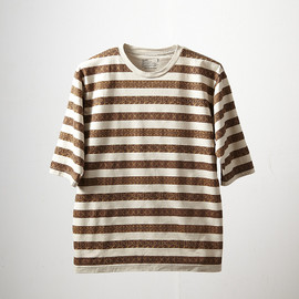 White Mountaineering, EYESCREAM.JP - Jacquard Border Print 3/4 Sleeve T-Shirts