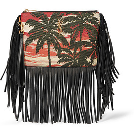 SAINT LAURENT - Monogramme fringed leather and jacquard clutch