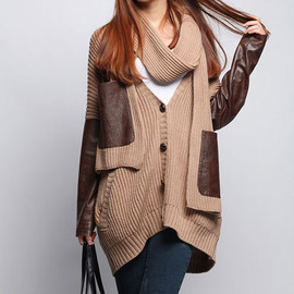 fashion - Image of [grxjy56053]Punk Stylish Chic Cool Patch Knit Cardigan With scarf