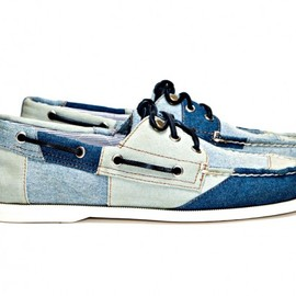 Band of Outsiders - Band of Outsiders x Sperry Top-Sider 3 Eye Tri Tone Denim Boat Shoe