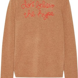 Lingua Franca - Don't Believe The Hype embroidered cashmere sweater